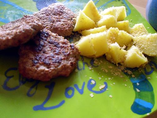 Turkey Sausage Patties and Baked Potatoes